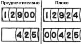 Рис. 60. Если последние цифры не имеют сущестепного значения (т. е. содержащаяся в их показаниях точность не соблюдается), то их следует заменять постоянными нулями. Иной подход рекомендуется для впереди стоящих цифр, которые не требуются оператору к работе; в этом случае соответствующее пространство должно быть пустым.