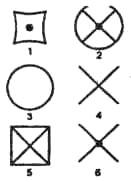 Выберите нужную фигуру из шести пронумерованных фигур справа.