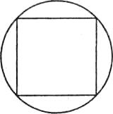 Рис. 30. Геометрически правильный круг воспринимается прогнутым по углам квадрата. Иллюзия возникает в силу неадекватного отражения размера острых углов
