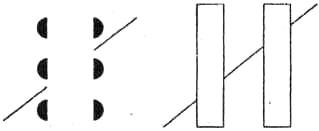 Рис. 29. Иллюзия Погендорфа. Отрезки одной прямой воспринимаются как отрезки, находящиеся на разных уровнях. Иллюзия исчезает, если внизу слева появится изображение человека, натягивающего веревку