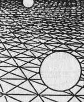 Рис. 21. Константность восприятия. Верхний круг в пятнадцать раз меньше нижнего. Но оба круга воспринимаются как равные: при восприятии перспективы наблюдатель автоматически учитывает соотношение между величиной объекта и его удаленностью