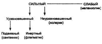 Типы высшей нервной деятельности и соответствующие им темпераменты